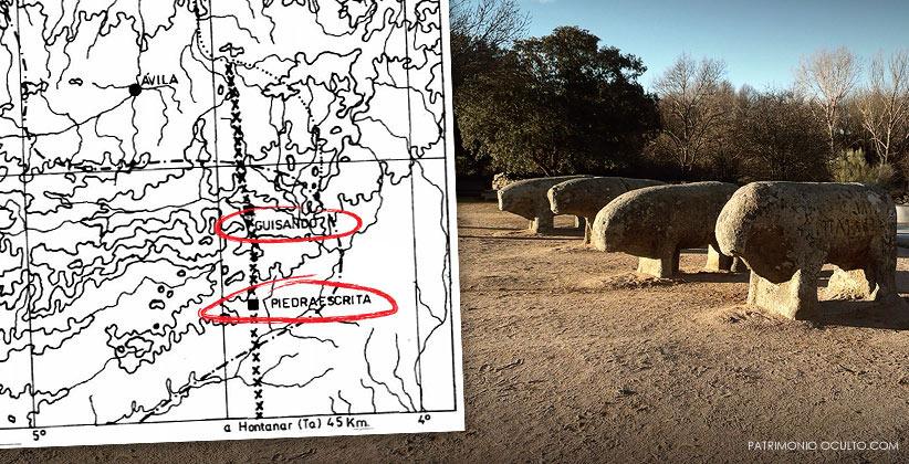 La Piedra Escrita y los Toros de Guisando se encuentran alineados.