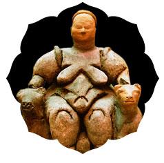 Diosa Madre con leones. Catal Huyuk, Turquía. 6000 A.C